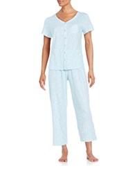 Karen Neuburger Printed Cotton Blend Pajama Set Lace Blue
