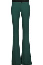 Just Cavalli Velvet Trimmed Stretch Crepe Bootcut Pants Emerald