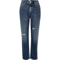 River Island Womens Mid Blue Wash High Rise Mom Jeans