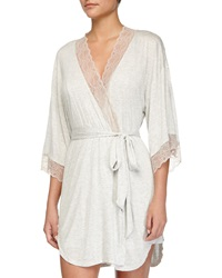 Eberjey Lace Trim Short Robe Marble Rose