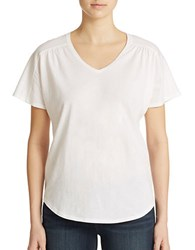 Lord And Taylor Shirred V Neck Tee White