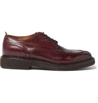 Officine Creative Stanford Polished Leather Derby Shoes Burgundy