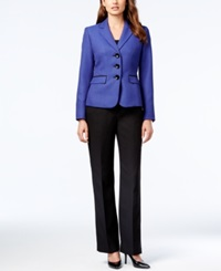 Le Suit Three Button Colorblocked Pantsuit Sapphire B