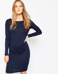 Pieces Long Sleeve Jersey Dress Navy