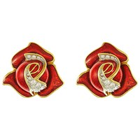 Eclectica Vintage 1980S Gold Plated Rose Bud Swarovski Crystal And Enamel Clip On Earrings Red Gold
