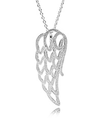 Pandora Design Pandora Necklace Sterling Silver And Cubic Zirconia Angel Wing 35.4