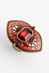 Spring Street Crystal Shield Ring Red
