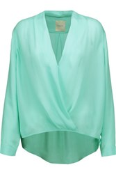 Michelle Mason Wrap Effect Silk Chiffon Blouse Mint
