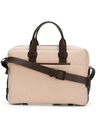 Troubadour Fabric Leather Briefcase Nude And Neutrals