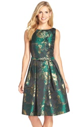 Eliza J Metallic Jacquard Fit And Flare Dress Emerald