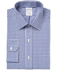 Brooks Brothers Men's Regent Classic Fit Non Iron Blue Checked Dress Shirt