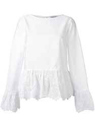 Osman Boat Neck Flared Blouse White