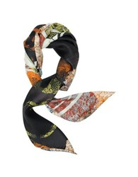 Jimmy Choo Lace And Shoes Printed Silk Square Scarf Orange