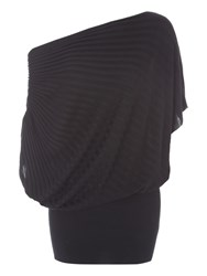 Jane Norman Slash Neck Ribbed Jumper Black