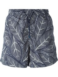 Etro Leaf Print Swim Shorts Blue