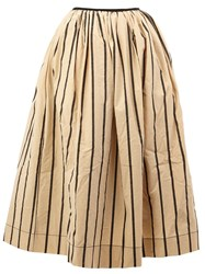 Uma Wang Striped Full Skirt Nude And Neutrals