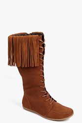 Boohoo Mia Knee High Suede Fringe Festival Boot Tan