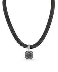 Alor Spring Coil Cable And Mixed Diamond Pendant Necklace Black