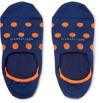 Marcoliani Invisible Touch Stretch Pima Cotton Blend No Show Socks Navy