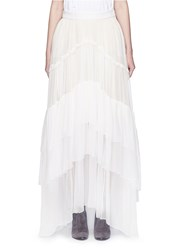 Chloe Tiered Silk Mousseline Maxi Skirt White