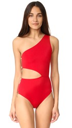 Oye Swimwear Kim One Shoulder Swimsuit Red