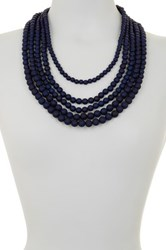 Madison Parker Layered Graduating Bead Drape Necklace Blue