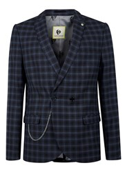Topman Noose And Monkey Navy And Blue Check Suit Jacket