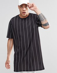 Weekday Stripe T Shirt Longline Black Black White Stripe
