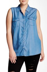 Halo Sleeveless Denim Shirt Plus Size Blue