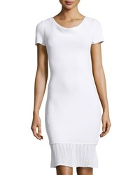 St. John Cowl Neck Ruffled Dress Brt.White