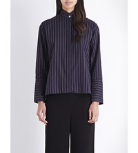 Dion Lee Striped Cotton Shirt Striped Navy