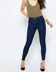 Asos Rivington High Waist Denim Jegging In Tinted Blue Wash Blue