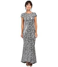 Calvin Klein Short Sleeve Sequin Gown Cd6b1p9w Charcoal Women's Dress Gray