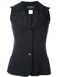 Chanel Vintage Fitted Waistcoat Black