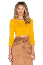 Glamorous Long Sleeve Crop Top Yellow