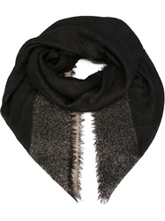 Agnona Frayed Edge Scarf Black