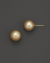 Bloomingdale's Cultured Golden South Sea Pearl Stud Earrings In 14K Yellow Gold 10Mm No Color