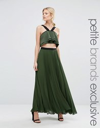 True Decadence Petite Pleated Maxi Skirt With Contrast Waistband Khaki Green