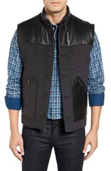 Bugatchi Men's Leather Trim Wool Blend Vest