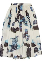 Tibi Oki Printed Silk And Linen Blend Skirt White