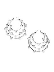 Noir Cubic Zirconia Tiered Circular Hoop Earrings 2In Silver