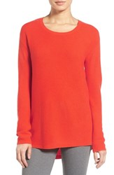 Nordstrom Women's Collection Scoop Neck Ribbed Cashmere Sweater Red Poinciana