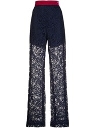 Msgm Sheer Lace Straight Trousers Blue
