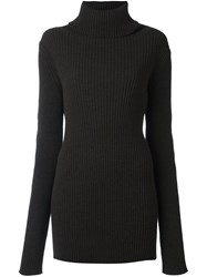 Ann Demeulemeester Roll Neck Ribbed Pullover Brown
