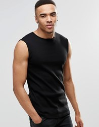 Asos Rib Extreme Muscle Sleeveless T Shirt In Black Black