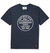 Neighborhood Printed Cotton Jerey T Hirt Navy