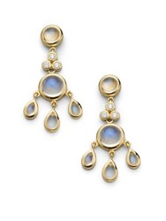 Temple St. Clair Royal Blue Moonstone Diamond And 18K Yellow Gold Fringe Chandelier Earrings