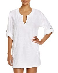 J. Valdi Tropical Terry Tunic Swim Cover Up White
