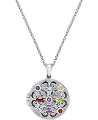 Victoria Townsend Multi Stone Locket Pendant Necklace 1 2 Ct. T.W. In Sterling Silver