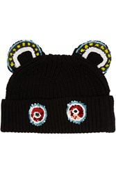 Markus Lupfer Monkey Ears Sequined Merino Wool Beanie Black